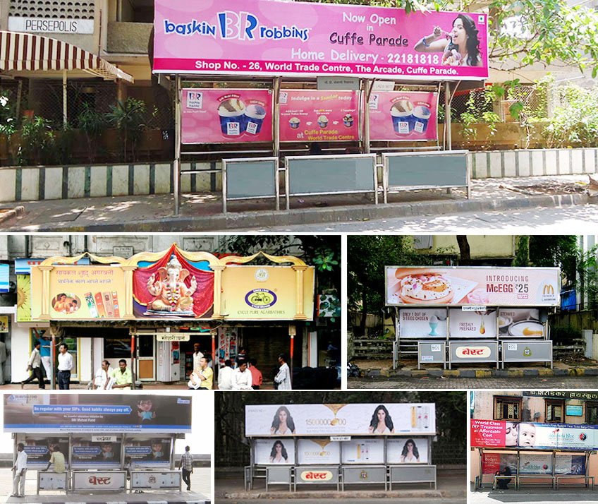 Bus stop adertising, Bus stops advertising, bus stop shelter advertising in Mumbai, Thane, Navi Mumbai